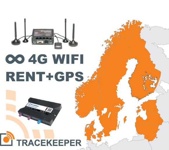 Reitittimen vuokrauspalvelu rajaton 4G netti Pohjoismaissa ja GPS-seurannan | 00053-00-00